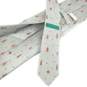 BVLGARI Tie Gray Peach Topiary Trees Seven 7 Fold